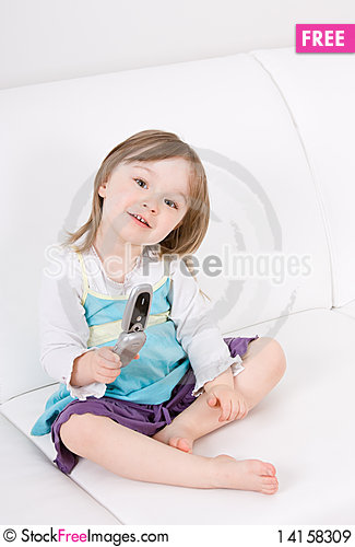 Free Little Girl With Mobile Phone Royalty Free Stock Images - 14158309