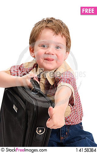 Free The Little Boy With A Case Stock Images - 14158384