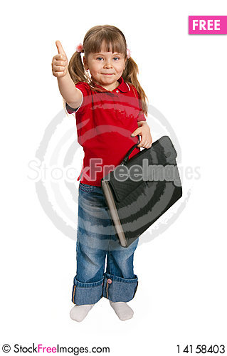 Free Little Girl With A Case On White Stock Photos - 14158403