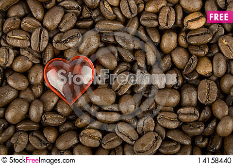Free Coffee Beans And Red Heart Stock Photo - 14158440