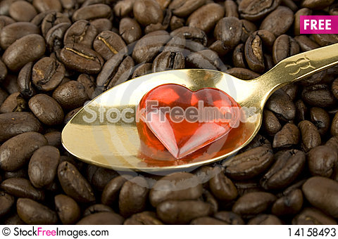 Free Many Coffee Beans With Red Heart Stock Photos - 14158493