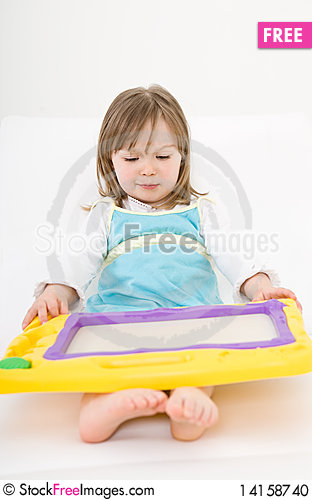 Free Little Girl Drawing Stock Photo - 14158740