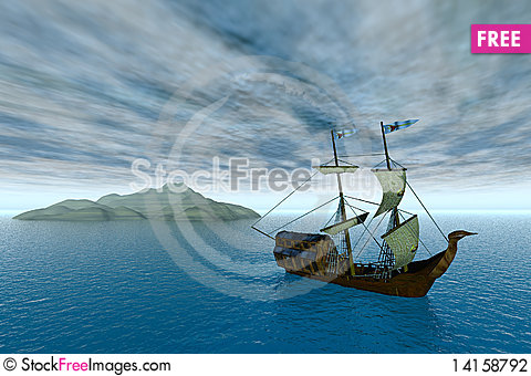 Free Ancient Vessel On Water Stock Photography - 14158792