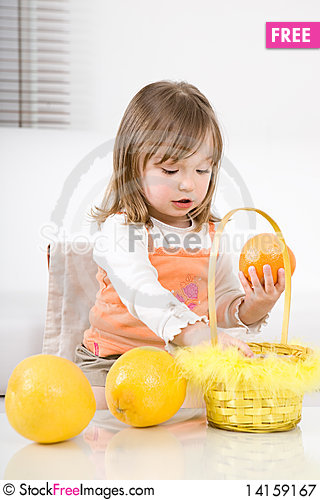 Free Little Girl With Fruits Royalty Free Stock Photography - 14159167