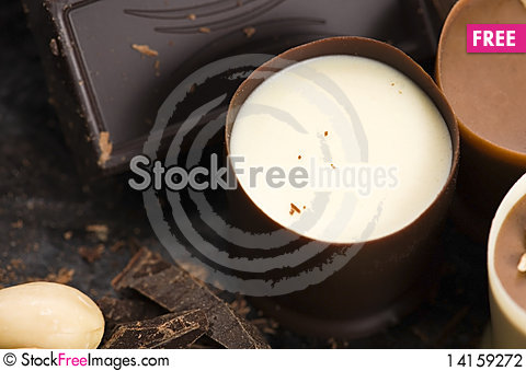 Free Chocolates With Sweet Almonds Stock Photography - 14159272