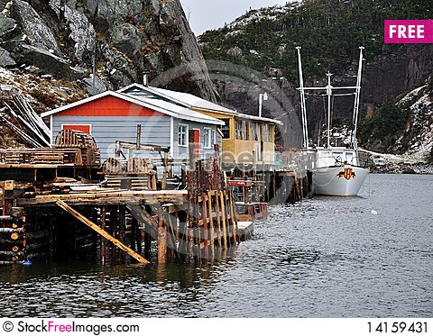 Free Fishing Wharf In Fjord Stock Image - 14159431