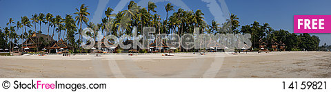 Free Tropical Hotel Pano Stock Image - 14159821