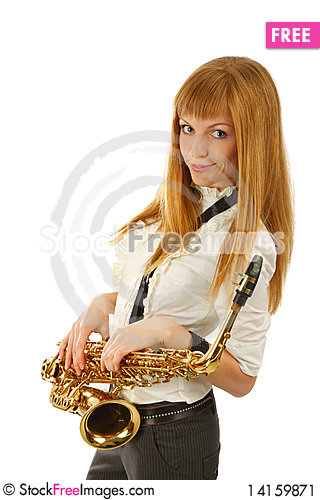 Free Young Woman With Saxophone Stock Image - 14159871