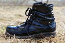 Free Dirty Black Boot Stock Image - 14150531
