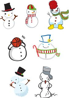 Free Cute Snowman Illustrations Royalty Free Stock Image - 14150666