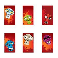 Color Monsters Heads Cards Stock Images