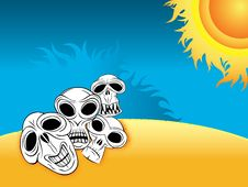 Free Skulls On The Desert Beach Stock Photos - 14151003
