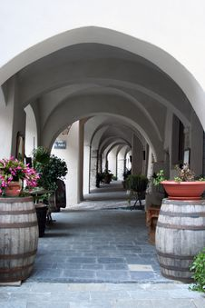 Empty Colonnade In A Small Italian Village Stock Images