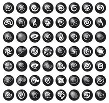 Free Spirals And Decorations On Black Balls Royalty Free Stock Image - 14153886