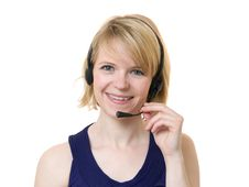 Free Woman With Headset Stock Photography - 14153942