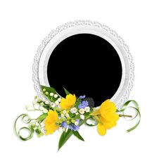 Free Round Frame With Spring Flowers Royalty Free Stock Image - 14154106