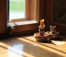 Free Unlit Candle In The Church In Front Of A Window Royalty Free Stock Photo - 14155135
