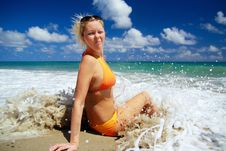 Free Sexy Girl  In Waves Of Atlantic Ocean Stock Photography - 14155322