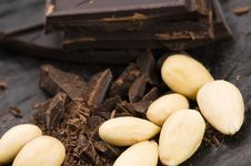 Chopped Chocolate With Sweet Almonds Stock Image