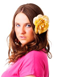 Free Girl With Flower In Hair Over White Royalty Free Stock Images - 14156059