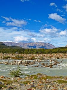 FitzRoy River, Cerro Torre, El Chalten,Argentina Stock Photo