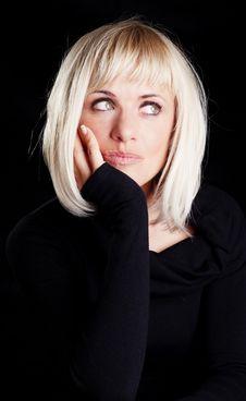Free Beautiful Blond Thoughtful Woman Royalty Free Stock Photo - 14156425