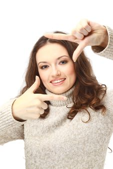 Young Woman Creating A Frame With Her Fingers Stock Image