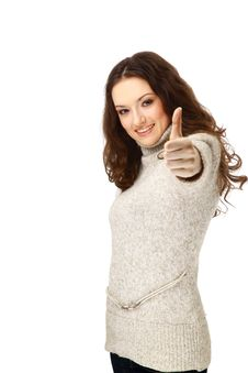 Free Woman Smiling With Her Thumbs Up Stock Image - 14157871