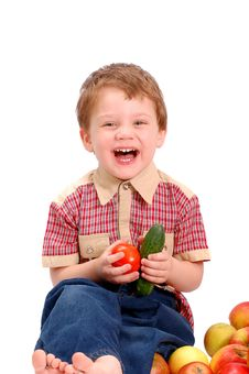 Free Little Boy With Fruit And Vegetables Stock Photos - 14158423