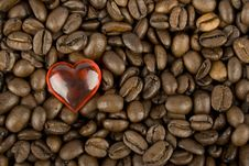 Coffee Beans And Red Heart Stock Photo