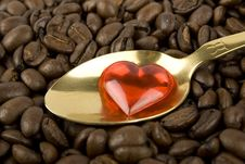 Many Coffee Beans With Red Heart
