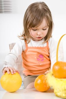 Free Little Girl With Fruits Stock Images - 14159264