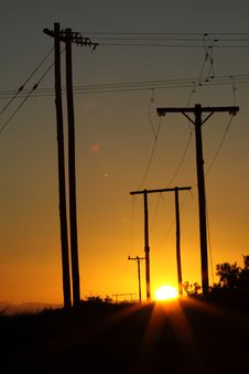 Free Power Line Sunset Stock Photo - 14159390