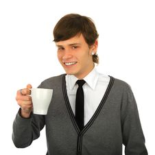 Free Smiling Man With A Cup Royalty Free Stock Image - 14159806