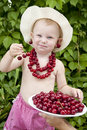 Free Girl With Red Cherry Beads And Earrings Royalty Free Stock Photo - 14160385