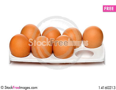 Free Chicken Brown Eggs In Container Stock Photos - 14160213