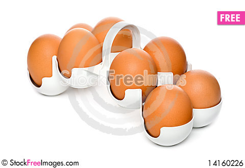 Free Chicken Brown Eggs In Container Royalty Free Stock Image - 14160226