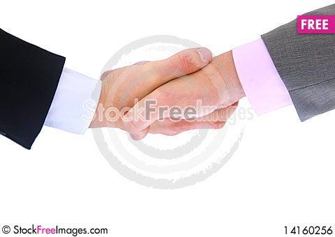 Free Handshake Isolated On White Royalty Free Stock Image - 14160256