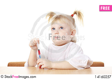 Free Child Playing With A Syringe Royalty Free Stock Photography - 14160257