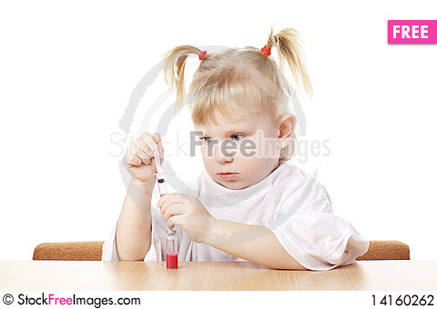 Free Child Playing With A Syringe Stock Photography - 14160262