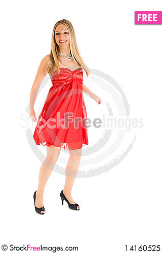 Free Blond Woman In Red Dress Royalty Free Stock Photo - 14160525