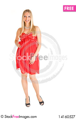 Free Blond Woman In Red Dress Royalty Free Stock Photography - 14160527