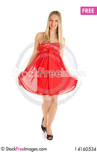 Free Blond Woman In Red Dress Stock Images - 14160534