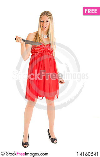 Free Blond Woman In Red Dress Stock Image - 14160541