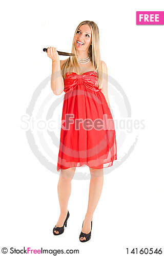 Free Blond Woman In Red Dress And Knife Royalty Free Stock Image - 14160546