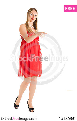 Free Blond Woman In Red Dress Stock Image - 14160551