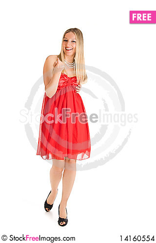 Free Isolated Caucasian Blond Woman In Red Dress Stock Images - 14160554