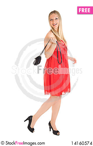 Free Blond Woman In Red Dress Stock Images - 14160574
