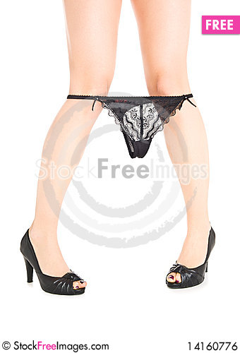 Free Woman Legs In Eels With Lace Underwear Royalty Free Stock Image - 14160776