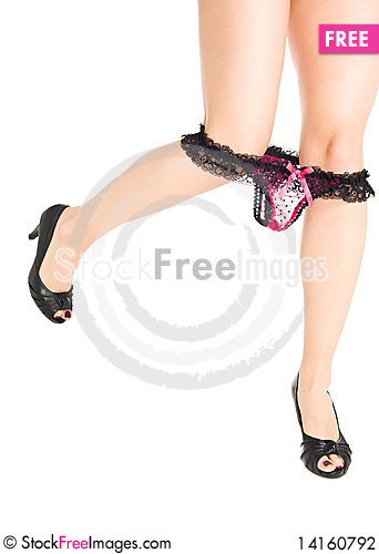 Free Woman Legs In Heels With Lace Underwear Isolated Stock Photography - 14160792